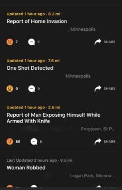citizen app crime in Minneapolis police calls