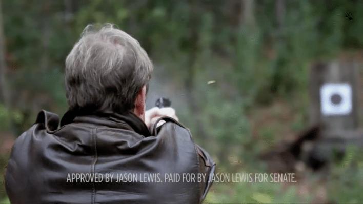 Jason Lewis shoots gun