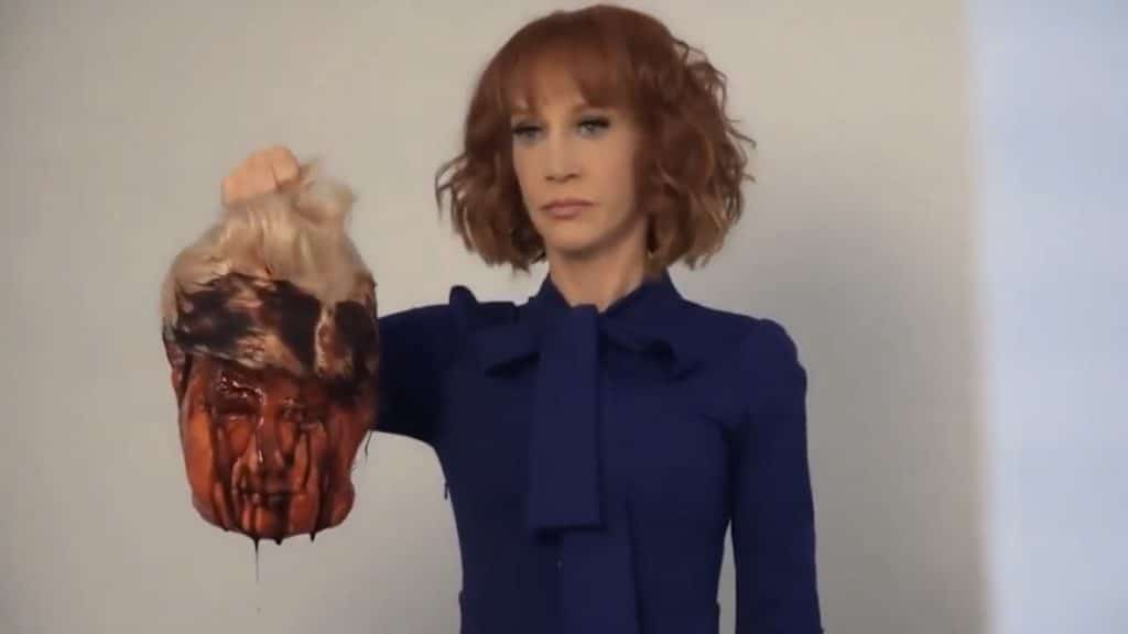 Comedian Kathy Griffin holds fake severed head