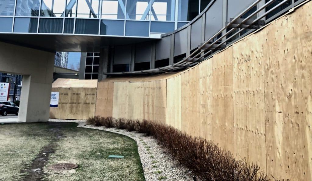 plywood on Minneapolis hospital
